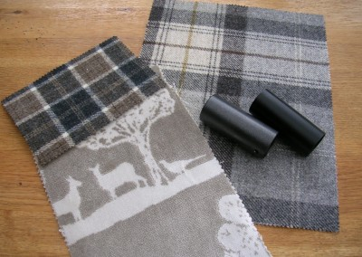 Fabric and pole samples for reception areas