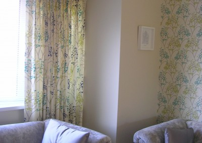 Co-ordinating curtain fabric and wallpaper