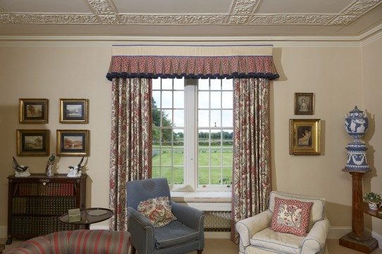 Drawing room - curtains and a box pleat valance with fringe