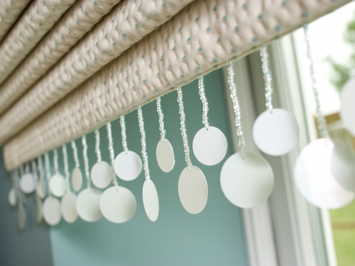 roman blind with sequin trim